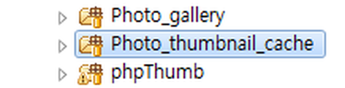 photo gallery, photo thumbnail cache, phpThumb라는 폴더가 표시돼 있다